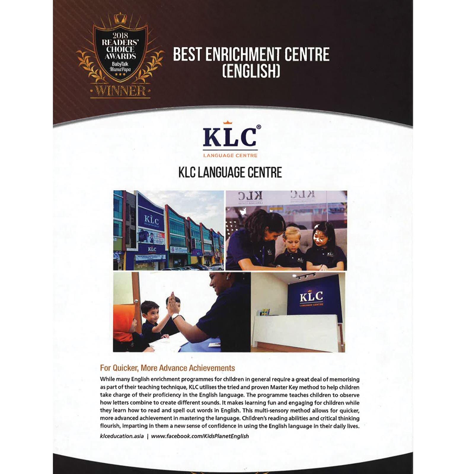 恭贺KLC成为BabyTalk 2018读者票选奖项得主