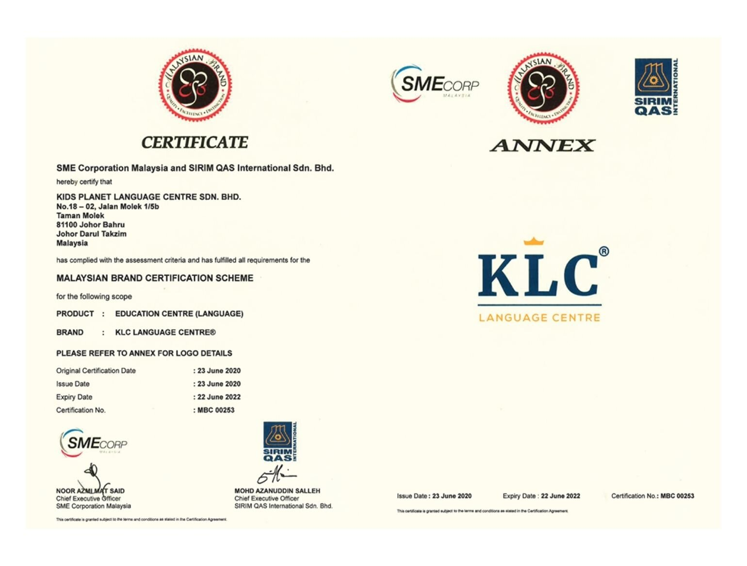 KLC Language Centre Certified by National Mark of Malaysian Brand